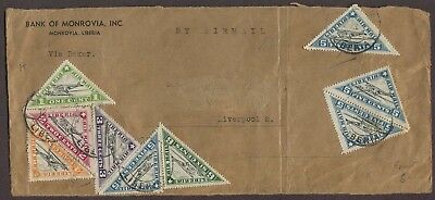 LIBERIA 1940's NINE TRIANGLE ISSUES ON AIRMAIL COVER FRONT MONROVIA TO ENGLAND