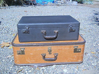 Pair of Vintage Vinyl Hard Shell Stackable Luggage Suitcase 26x16x8, 21x13x6