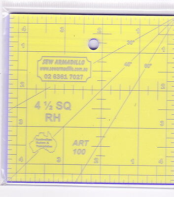 "4.5"" Square Ruler -for patchwork & crafting - use with Rotary Cutter"
