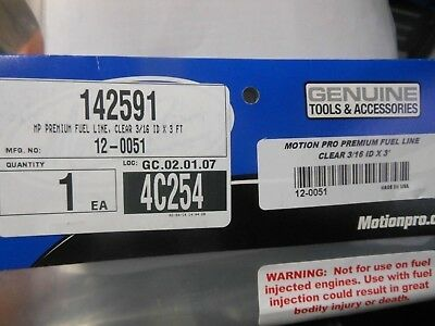 """Motion Pro Premium Clear Fuel Line 3/16"""" ID x 3' 142591 New In Stock"""