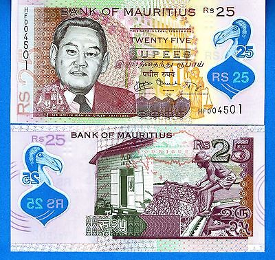 Mauritius P-New 25 Rupees Year 2013 Uncirculated Polymer