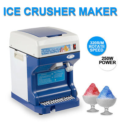NEW250W Commercial Ice Shaver Crusher Shaving Process Snow Cone Maker Machine US