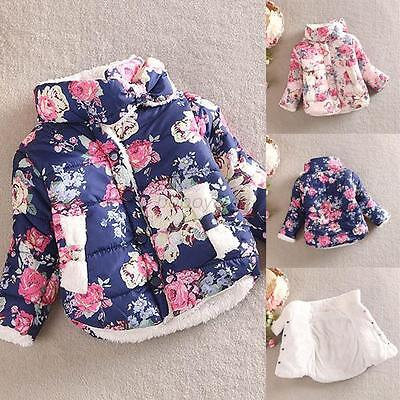 Child Kid Girl Floral Printed Winter Warm Jacket Thick Coat Outerwear 2-6T