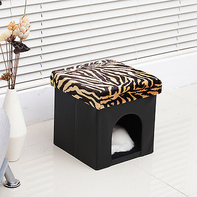 Pet Cat Dog House Bed Storage Ottoman Condo Seat Footstool Folding Leopard MDF