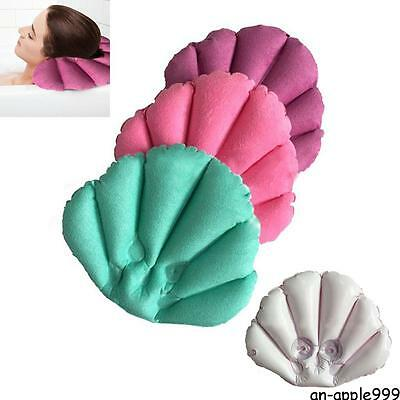 New Home Spa Inflatable Bath Pillow Back Neck #A Cushion 2 Suction Cups Shell
