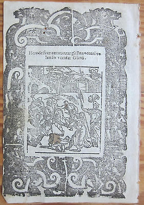 Post Incunable Leaf Rosario Woodcut Herod Child Murder Venice - 1521
