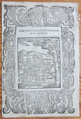 Post Incunable Leaf Rosario Woodcut Jesus Mary and Joseph Venice - 1521