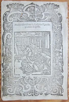 Post Incunable Leaf Rosario Woodcut Jesus Mary and Joseph 2 Venice - 1521