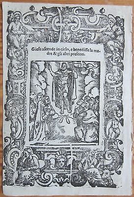 Post Incunable Leaf Rosario Woodcut Ascension to Heaven Venice - 1521