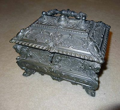 Very Fancy Old Antique Large Pewter Jewelry Box Treasure Chest