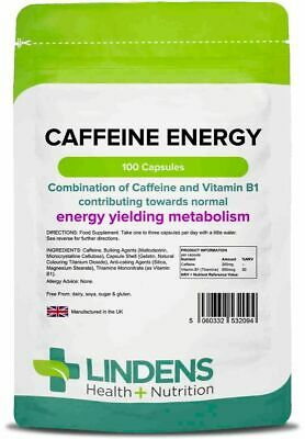 Lindens Caffeine Energy 200mg 3-PACK 300 Capsules with Vitamin B1 B5 and B6