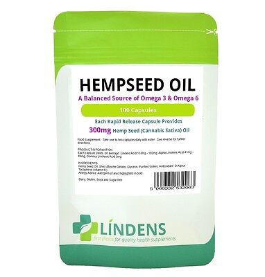 Lindens Powerful Hemp Seed Oil 300mg 100 Capsules Omega 3 6 Hempseed