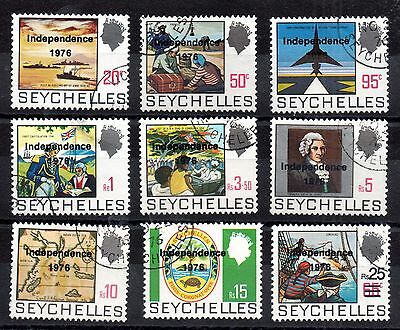Seychelles 1976 Independence Overprinted fine used set SG374-382 WS1778