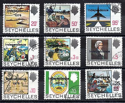Seychelles 1976 Independence Overprinted fine used set SG374-382 WS1779