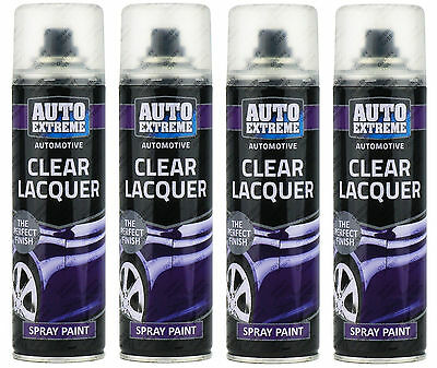 4x Automotive Clear Lacquer Gloss Spray Paint Aerosol Can Auto Extreme 250ml