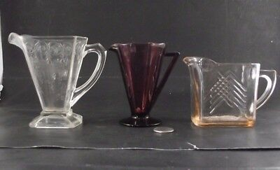 3 Depression Lot   Pink Chevron Measuring Cup   Purple Lorrain Basket Cream