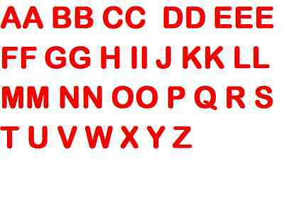 40 ironing letters, Red, 3cm
