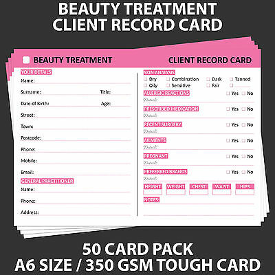 Posh Panda Beauty Client Record Card Treatment Consultation Cards A6 - 50 Pack