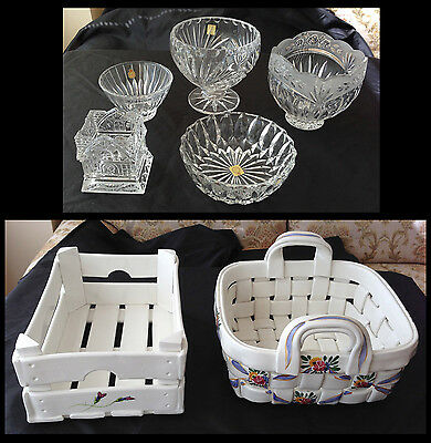7-pc European Crystal and Pottery Set - Unused Gifts for You!