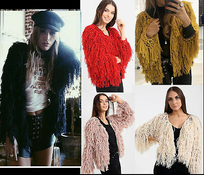 Women Fluffy Shaggy Warm Coat Faux Fur Jacket Tassel Cardigan Knit Outwear To UK
