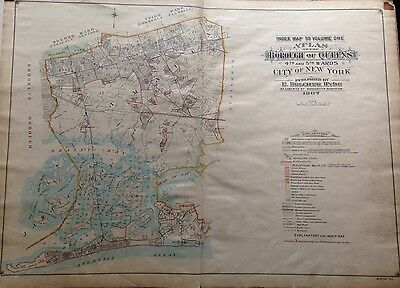 Orig 1907 E. Belcher Hyde Index Page Queens Ny Plat Atlas Map