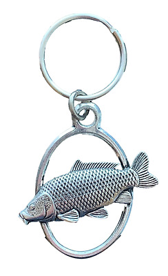 Carp Key Ring Handcrafted from Solid Pewter In the UK