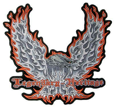 Jumbo Embroidered Legendary Heritage Fire Eagle Wingsup Patch Jbp087 12 Inch New