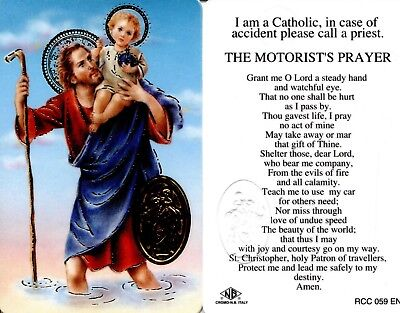 Motorists Prayer Card I Am a Catholic In Case of Accident Call a Priest RCC059EN