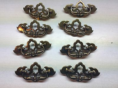 8 Vintage Antiqued Brass ORNATE Colonial Dresser Drawer Pulls Cabinet Door #O