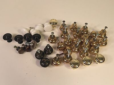 Lot of 39 KNOBS kitchen Cabinet Dresser Draw Pull Porcelain Brass Handles vtg