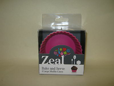New Cks Zeal Non Stick Silicone Large Bun Muffin Cases Pk 4 NB24