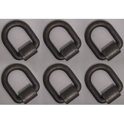"(6) 1"" x 3"" D-Ring w/ Weld On Clip for Flatbed Truck Trailer 47,000 lb Rated MBS"
