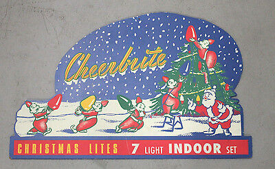 Vintage Cheerbrite Christmas Lites Wooden Holiday Ad Sign Santa Claus & Helpers