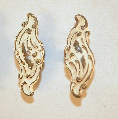 Vintage Small Ornate Solid Brass Cupboard Drawer Cabinet Door Pull Handle Pair 2