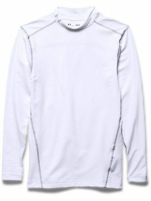 Under Armour Mens Base Layer Coldgear Armour Compression Mock White New Sports