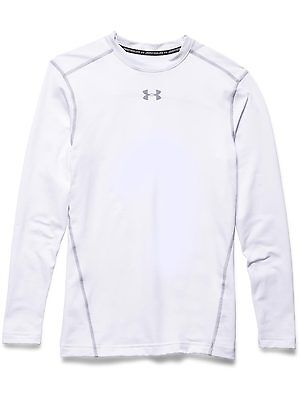 Under Armour Mens Base Layer Coldgear Armour Compression Crew White Gym Top New