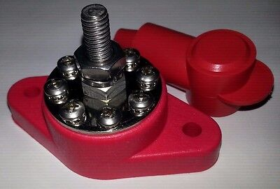 "8 Point Power Distribution Post 1/4"" Red 160 amps @ 12v DC terminal w/boot"