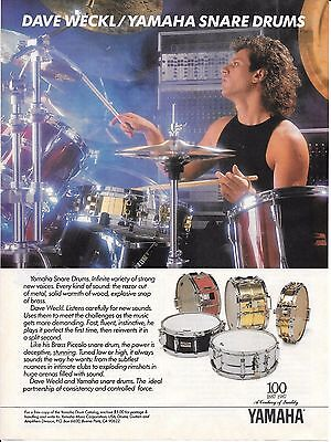 Yamaha Snare Drums - Dave Weckl - 1989 Print Advertisement