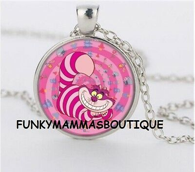 Alice In Wonderland Pink Cheshire Cat Glass Pendant Necklace Silver In Gift Bag