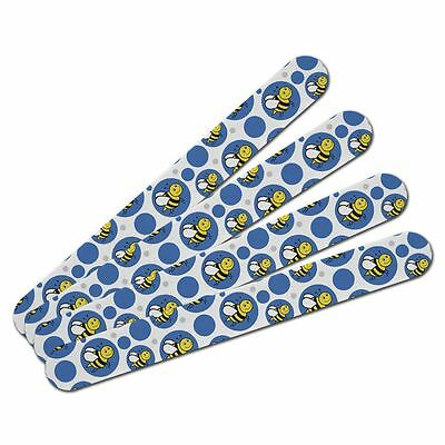 Double-Sided Nail File Emery Board Set 4 Pack Happy Bumble Bee Buzz Insect Honey