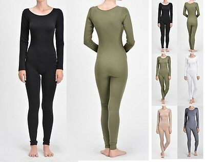 Women Nylon Spandex Long Sleeve Round Neck Catsuit Jumpsuit Bodysuit Dance