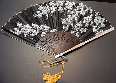 Japanese Mother Of Pearl In-Lay Hand-Painted Floral Scenery Fan With Carved Wood