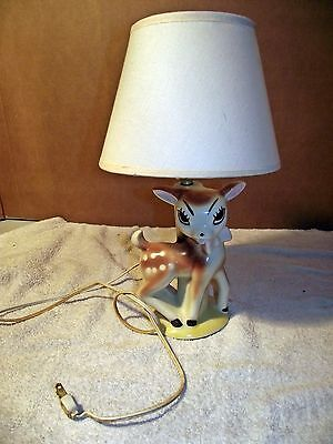 Vintage 1950s 1960s Deer Fawn Bambi Lamp Retro Collectible