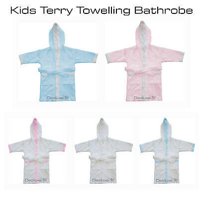 100% Cotton Kids Children Terry Towelling Bathrobe Bath Robe Dressing Gown Hood