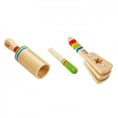 Hape Early Melodies Rhythm Set - Kids Wooden Musical Instruments Clapper Guiro