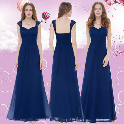 Ever-Pretty Long Evening Party Prom Dress Navy Blue Sleeveless Formal Dress 8935