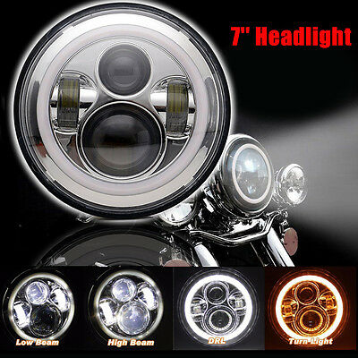 "7"" Motorcycle Hi/Lo LED Daymaker Projector Headlight Halo Angel Eye For Harley"