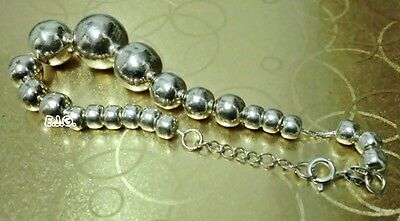 11.34g 7.5 inches Stamped 925 Genuine Sterling Silver Beads Bracelet