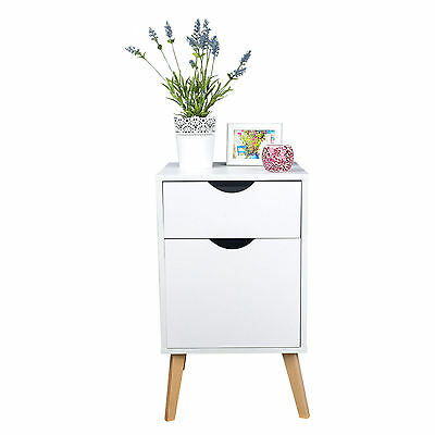 Brand New White Bedside w/ 2 Drawer Wooden Table Cabinet Side Nightstand Storage