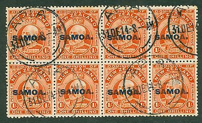 SG 121 Samoa 1/- vermilion block of 8. Very fine used Apia CDS CAT £184